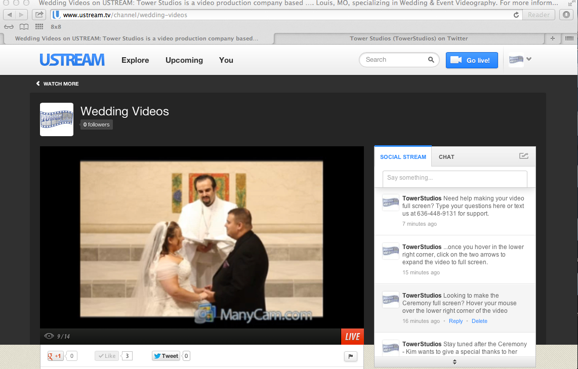 Live Wedding Streaming St Louis MO